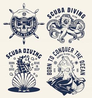 Винтажные подводное плавание и морские эмблемы