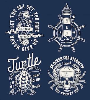 Коллекция старинных морских монохромных логотипов