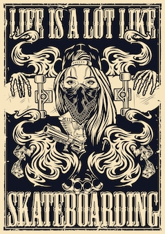 Аутентичный монохромный стиль скейтборд постер