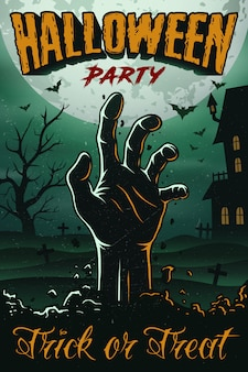 Хэллоуин плакат с рукой зомби, домом, деревом и летучими мышами