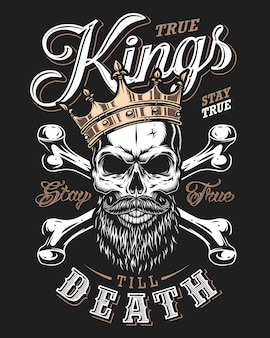 Цитата типографика с черно-белым королевским черепом в золотой короне с бородой