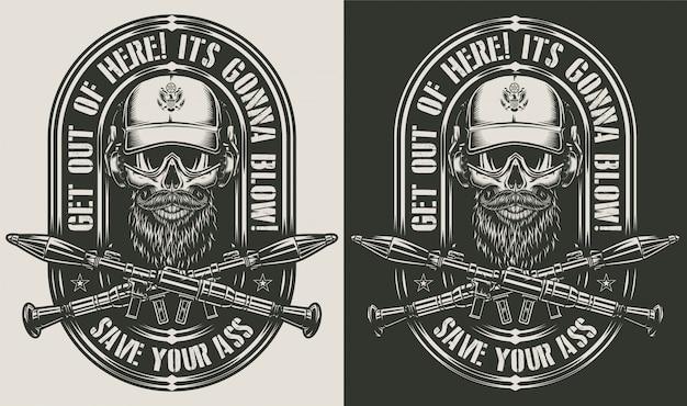 Старинные монохромные военные значки