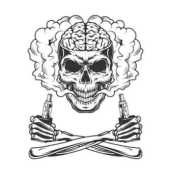 Старинный череп с человеческим мозгом