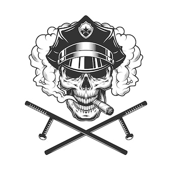 Урожай монохромный полицейский череп курить сигары