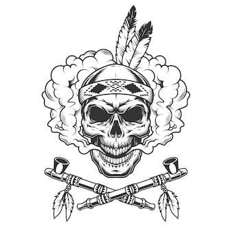 羽を持つヴィンテージのインディアンの戦士の頭蓋骨