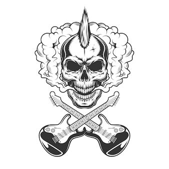 Рокер череп с ирокезом