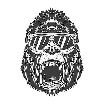 Злая горилла в монохромном стиле