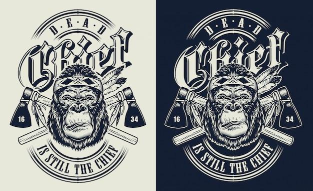 Футболка с принтом в виде горилл