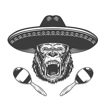 ソンブレロ帽子の怒っているゴリラの頭