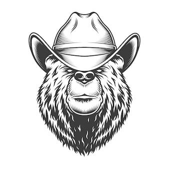 Винтажная голова медведя в ковбойской шляпе