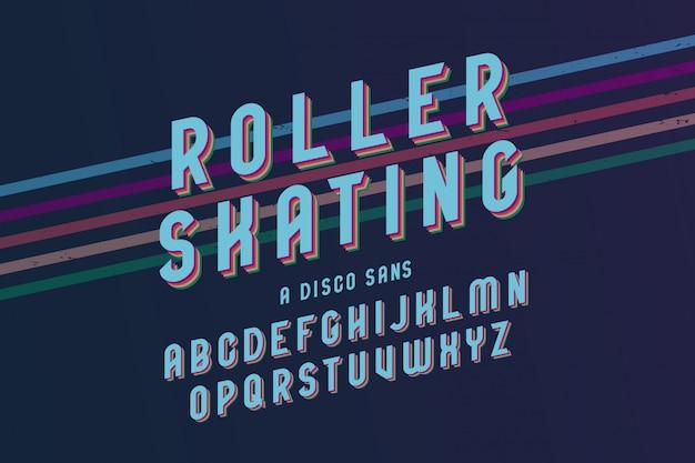 Винтажный шаблон шрифта на роликовых коньках