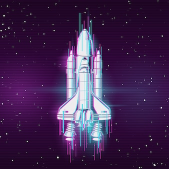 グリッチ効果のあるロケット