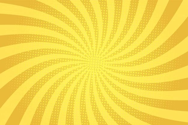 放射状の光線とハーフトーンのユーモア効果を持つコミック抽象的な青い背景