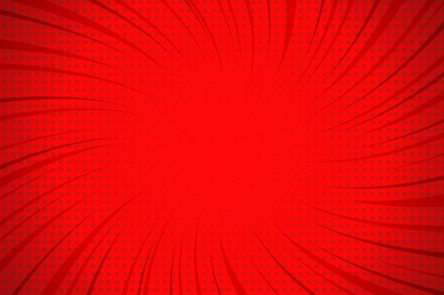 ねじれた放射状およびハーフトーンのユーモア効果を持つコミック抽象的な黄色光テンプレート