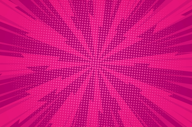 Комический взрывной красный шаблон с закрученными лучами и точками с юмором
