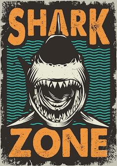 Плакат с винтажной акулой