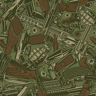 ビンテージの軍事兵器のシームレスパターン