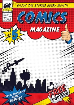 コミックのカラフルなポスターテンプレート