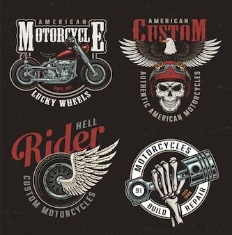 Старинные красочные этикетки мотоцикла