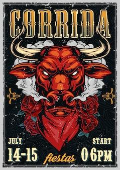 Винтажный коррида красочный плакат шаблон