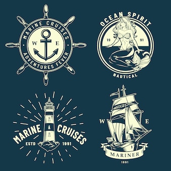 Набор старинных морских и морских эмблем