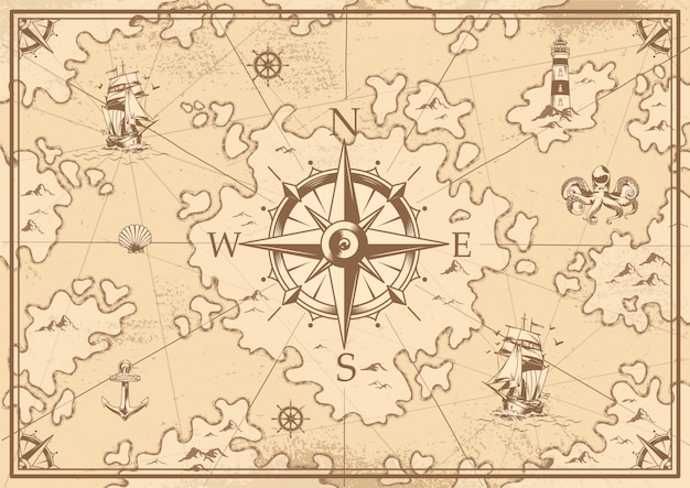 Старинная монохромная карта сокровищ