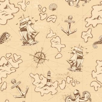 Старинный морской бесшовный фон