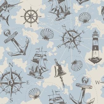 ヴィンテージの海事の要素のシームレスパターン