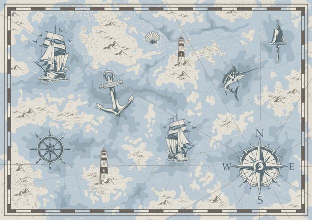 Старинная морская старая карта