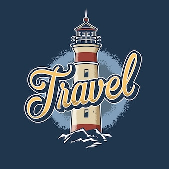 Старинные красочные иллюстрации маяка