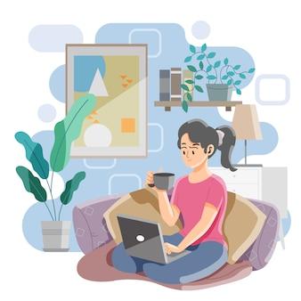 ソファのコンセプトの上に座って働く女性。在宅勤務。コーヒーを飲みながらノートパソコンでの作業。ベクトルとイラスト。