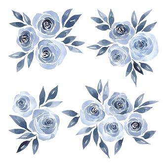 青いバラの水彩画のフラワーアレンジメント
