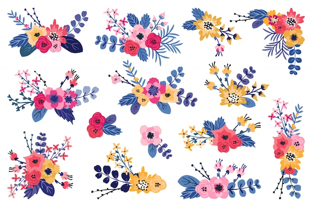 Синие, розовые, желтые цветочные композиции. весенние романтические букеты цветов