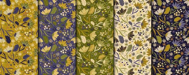 ビンテージ花のシームレスなパターン。レトロな植物デザイン