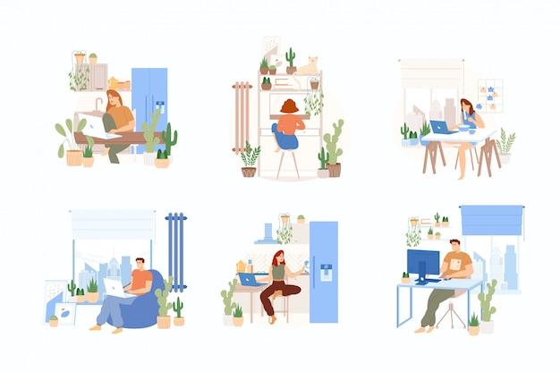 Комплект домашнего офиса. люди, работающие на ноутбуках и смартфонах на дому. комфортные условия. фриланс, онлайн-образование или удаленная работа.