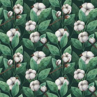 Бесшовный образец акварельных цветов и листьев хлопка.