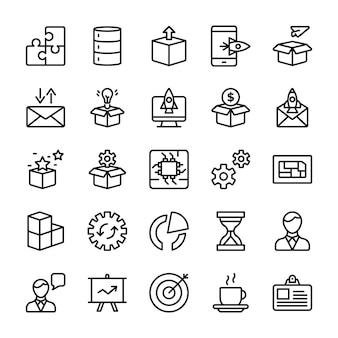 モジュール、製品リリース、プレゼンテーションラインベクトル