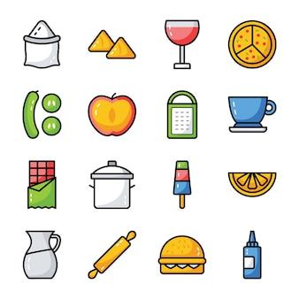 食べ物、飲み物、台所用品パック