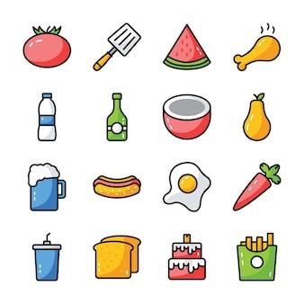食べ物、飲み物、台所用品セット