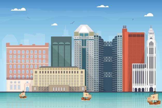 コロンブス都市のスカイラインイラスト