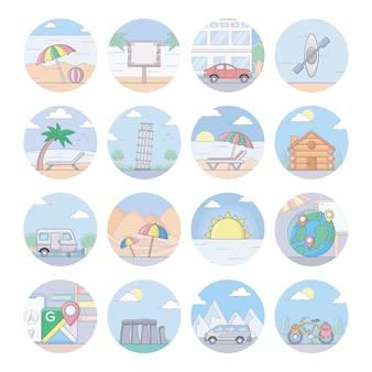 Иконки путешествий и туризма