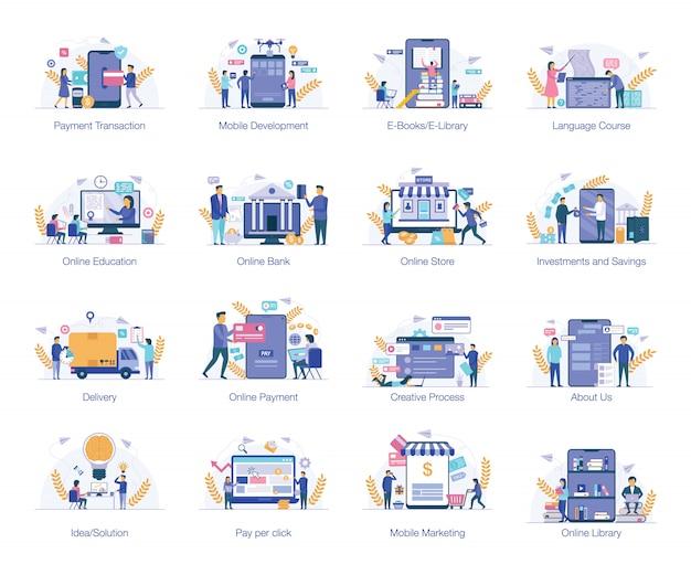 Пакет бизнес плоских иллюстраций