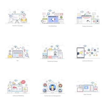 Маркетинг продвижение плоский иллюстрации