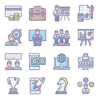 Пакет финансов плоских иконок
