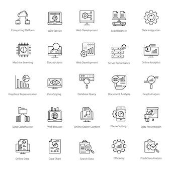 Пакет иконок линии базы данных