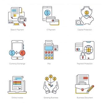Пакет плоских иконок онлайн-банкинга