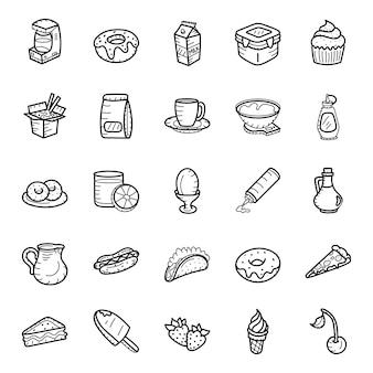 ファーストフードや飲み物の手描きアイコンパック