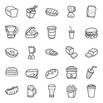 レストランの食べ物や飲み物の手描きアイコンパック