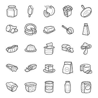 手描きの食べ物や飲み物のアイコンパック