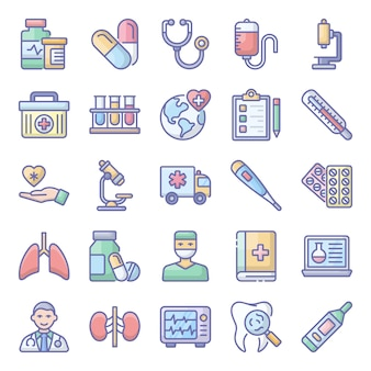 Пакет медицинских плоских иконок